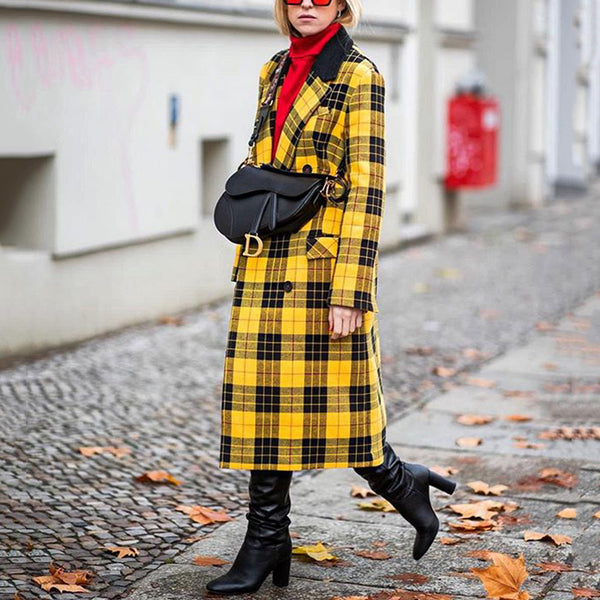 Casual Lapel Double-breasted Plaid Print Long-sleeved Coat