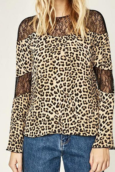 Sexy Chic Loose Leopard Print Lace Round Neck Long Sleeve Blouse