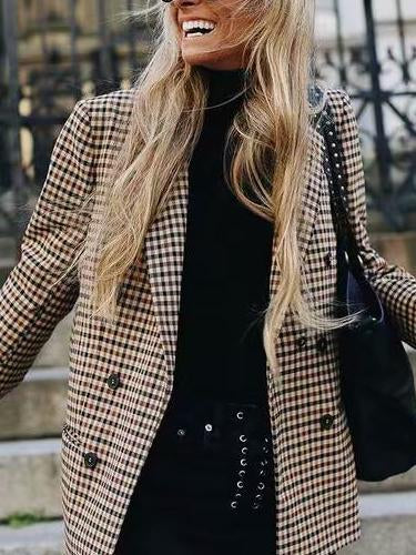 Fashion Plaid Long Sleeve Small Suit