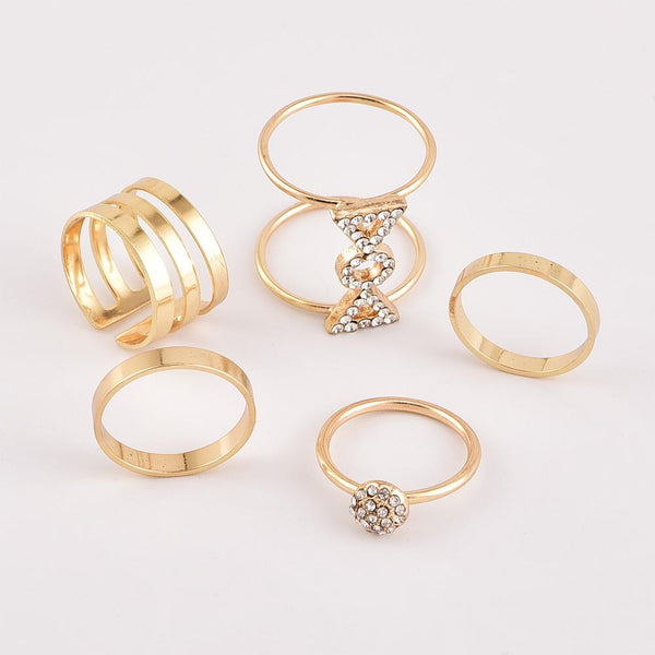 Women's personality full diamond joint ring set suit fashion personality new style
