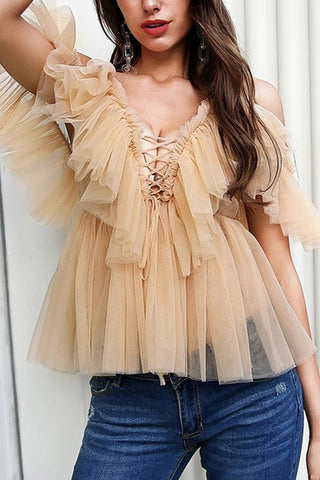 Sexy Gauze Sling Off-Shoulder Short Shirt