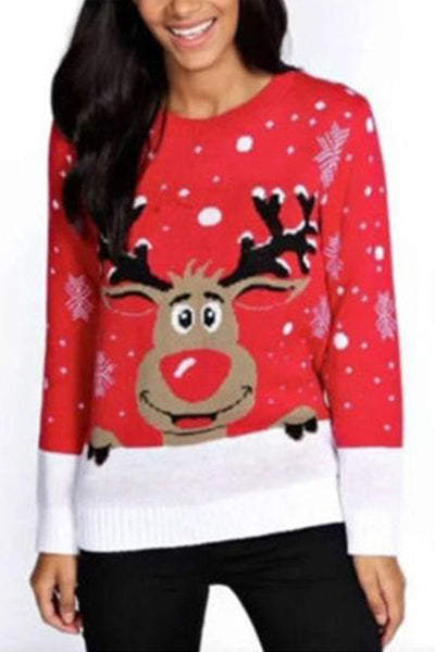 Christmas Fashion Knit Fawn Print Top
