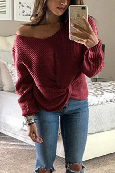 Sexy V Neck Long Sleeve Cross Knot Knitting Plain Sweaters