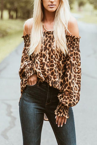 Off Shoulder  Asymmetric Hem  Leopard  Blouses