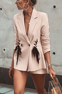Lapel Collar Lace Up Plian Coats
