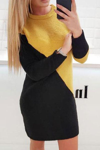 Fashionable Casual Knit Sweater Dresses In Mixed Colors