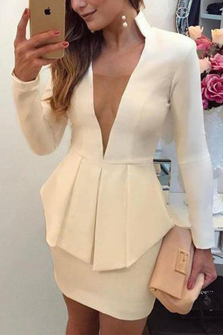 Sexy Deep V Pure Colour Slim Pencil Skirt
