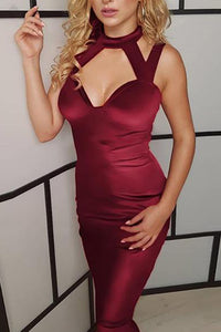 Sexy Halter Bare Back Sleeveless Pure Colour Bodycon Dresses