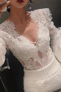 Sexy Deep V Lace Hollow Out Long Sleeve Shirt