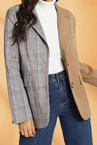 Chic Plaid Stitching Single-Breasted Casual Suit