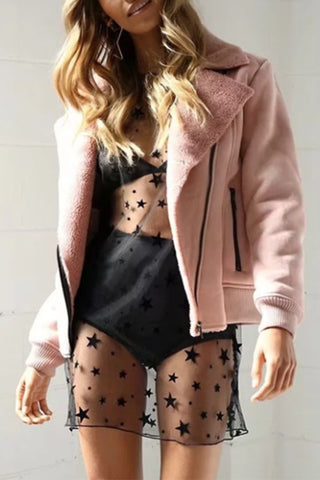 Fashionable Imitation Lamb's Fur Lapel Coat