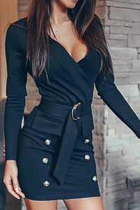 Fashion V Neck Button Long Sleeve Career Dresses