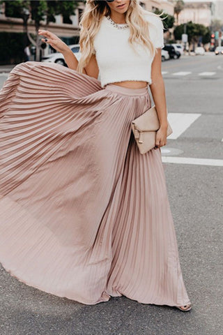 Fashion Mid High Waist Pleated Half Length Skirt