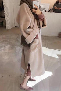 Elegant Plain Lapel Collar Woolen Two-Sided Long Coat