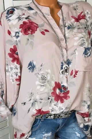 Cotton V-Neck Button Floral Printed Blouses