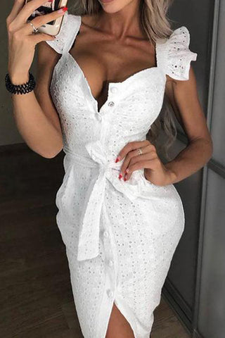Sexy Square-Cut Collar Single-Breasted Ruffled Hollow Out Belted Dress