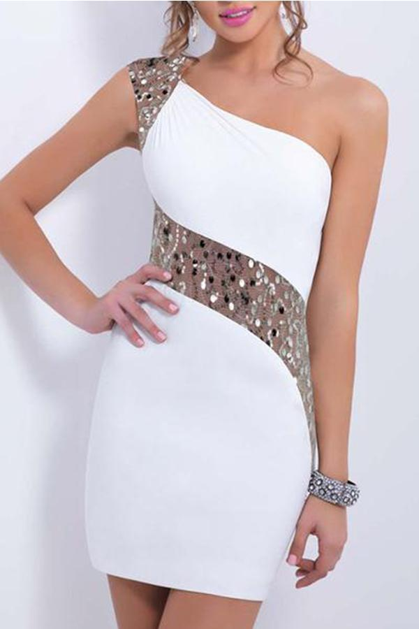 One Shoulder Sequin Mini Bodycon Dress