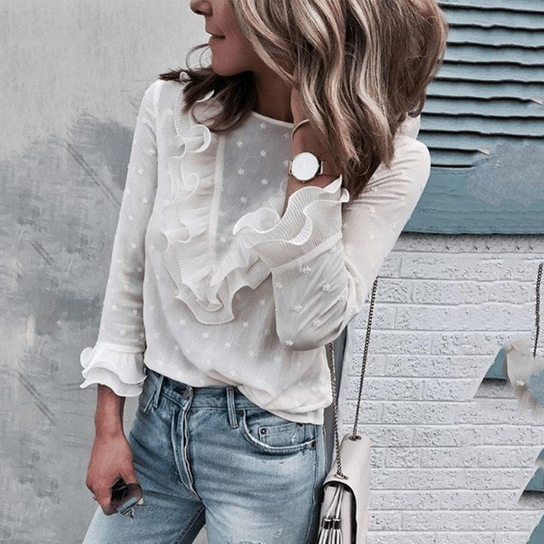 Round Neck  Plain  Bell Sleeve  Blouse