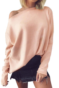 Solid Color Slash Neck Loose Knitted Sweater