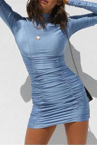 Sexy Round Collar Plain Blue Tight Bodycon Dress