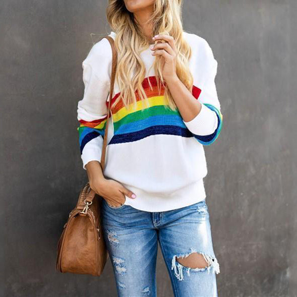 Casual Sexy round   collar printed rainbow stripe long sleeve blouse T-shirt