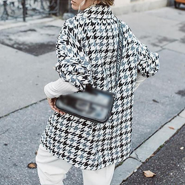 Fashion casual plaid lapel coat