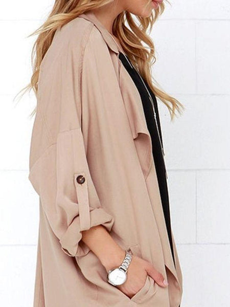 Oversize Plain Trendy Trench Coats