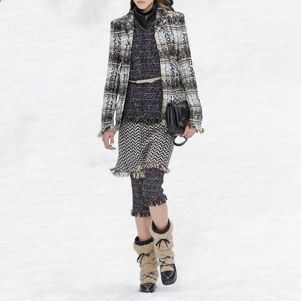 Fashion flip collar plaid coat