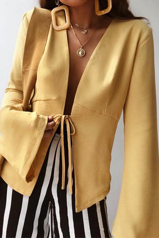 Fashion Pure Colour Bell Sleeve Belted Outerwear Shirt