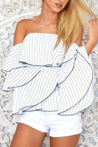 White Off Shoulder Bell Sleeve Smocked Bodice Striped Blouses