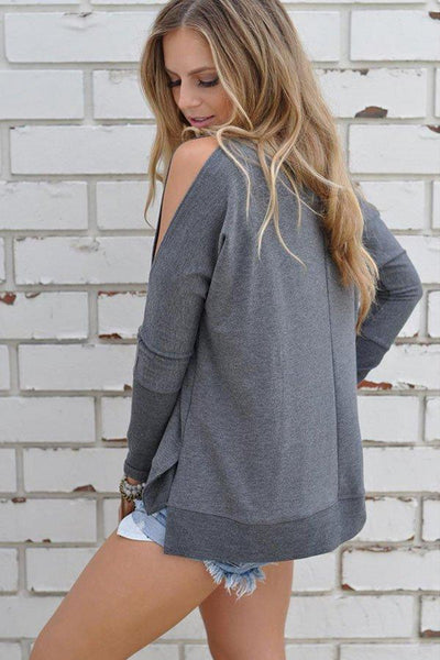 Open Shoulder Side Vented Plain T-Shirts