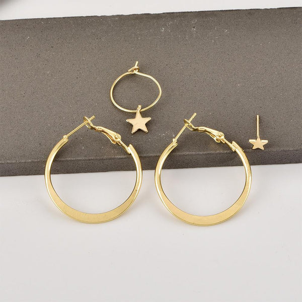 Pentagram round earrings combination