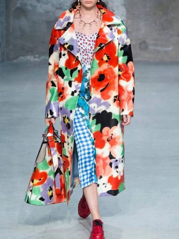 Fashion Turndown Collar Printed Color Long Overcoat