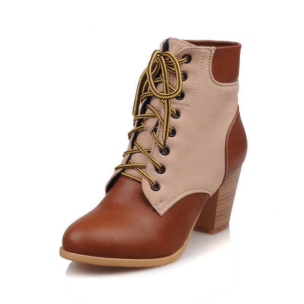 New Thick And High Heeled Martin Ankle Boots