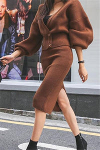 Casual Sexy V Collar   Lantern Sleeve Top Half Length Skirt Shown Thin Knitted Suit Skirt