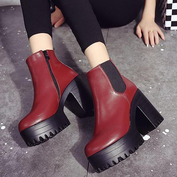 Slip On Ankle Chunky Heel Block Zipper Boots