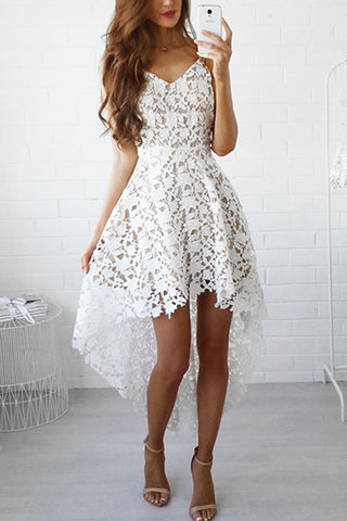 Sexy Deep V Halter Hollow Lace Dress