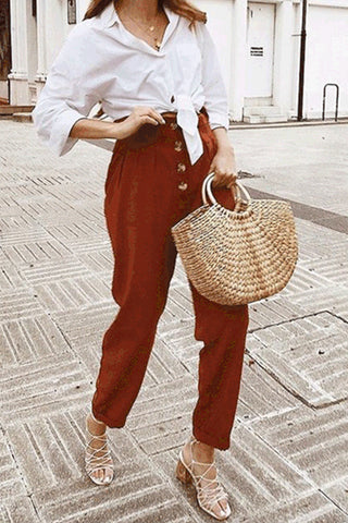 Casual Fashion Plain Loosen High Waist Harem Pants