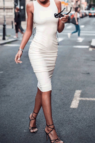 Sexy Backless Slim Fit Plain Bodycon Dress