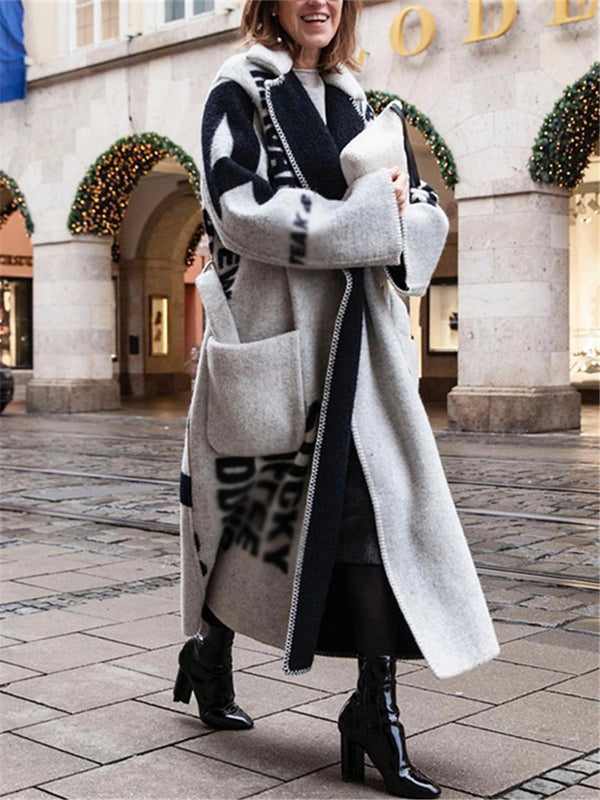 Women's Fashion Contrast Color Long Coat