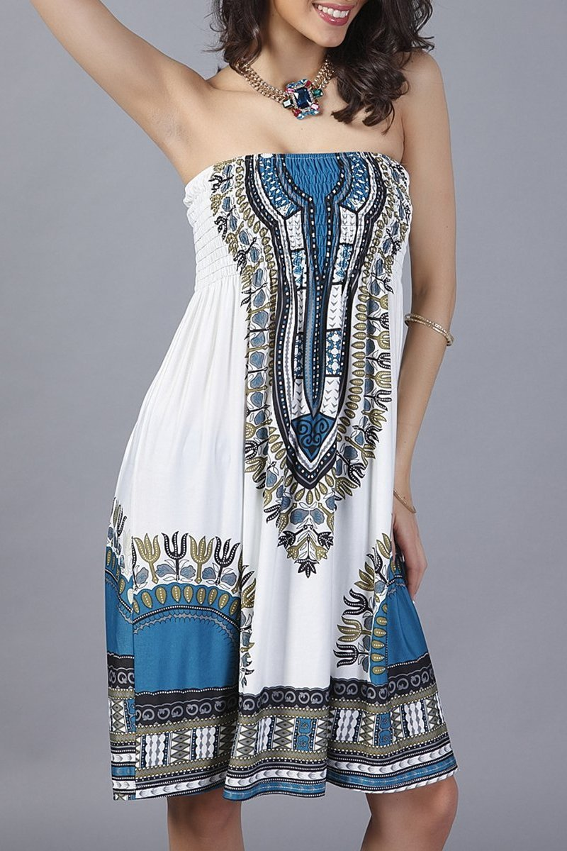 Smocked Bodice Strapless Shift Dress In Tribal Printed