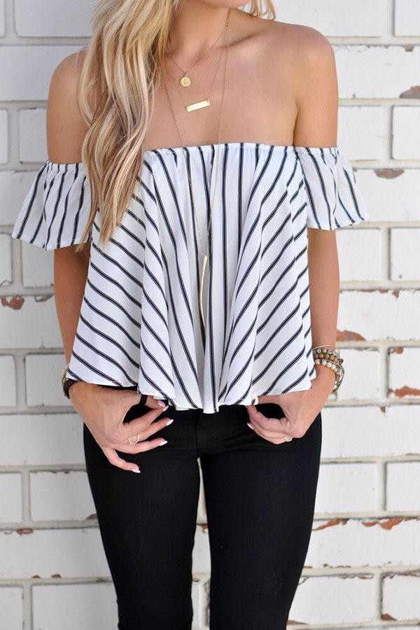 Strapless  Backless  Smocked Bodice  Striped T-Shirts