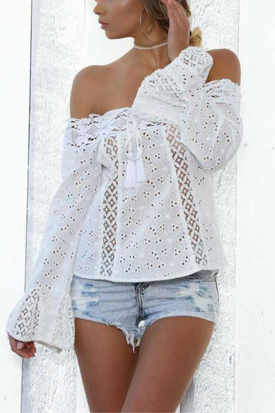 Off Shoulder  Backless Drawstring  Hollow Out Plain Blouses