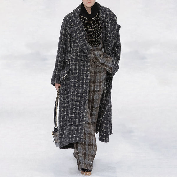 Women's Fashion Long Sleeve Plaid Coat