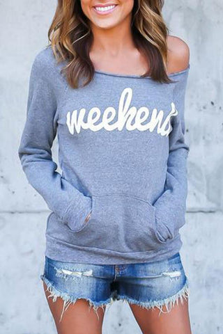 Open Shoulder  Kangaroo Pocket  Letters Sweatshirts