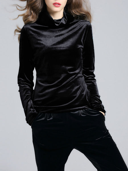 High Neck Solid Velvet Long Sleeve T-Shirt