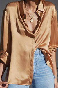 Sexy V Neck Long   Sleeve Pure Colour Blouse