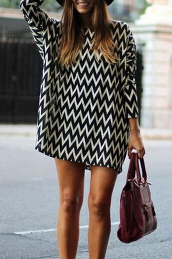 Round Neck  Stripes  Long Sleeve Casual Dresses