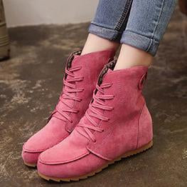 Plain  Flat  Faux Suede  Criss Cross  Round Toe  Casual Boots
