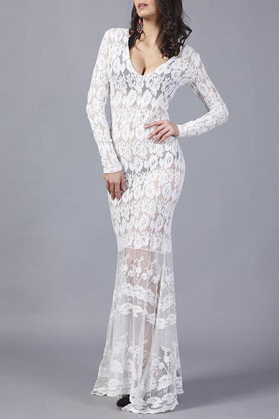 V-Neck Lace Sexy Evening Party Dress